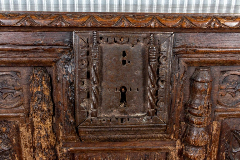 18th Century Early French Gothic Wood Trunk For Sale