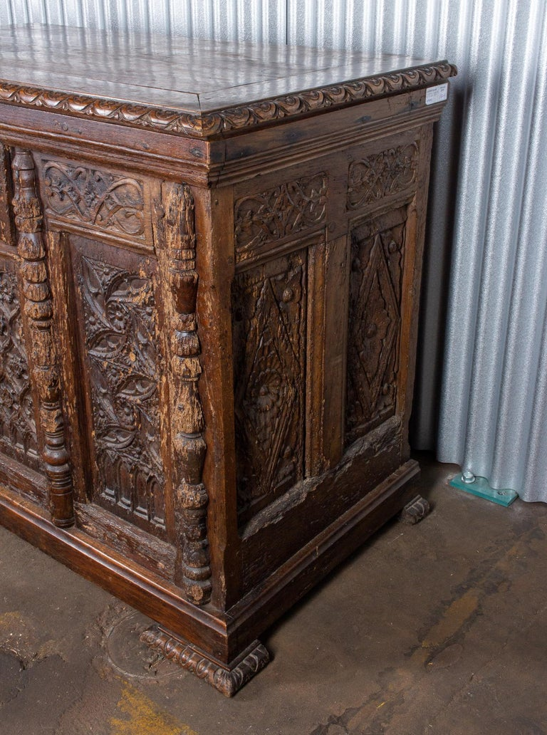 Early French Gothic Wood Trunk For Sale 2