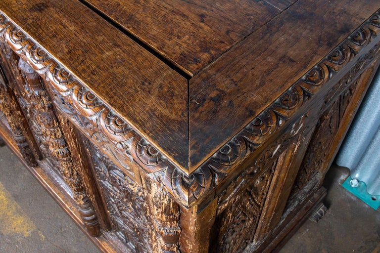 Early French Gothic Wood Trunk For Sale 3