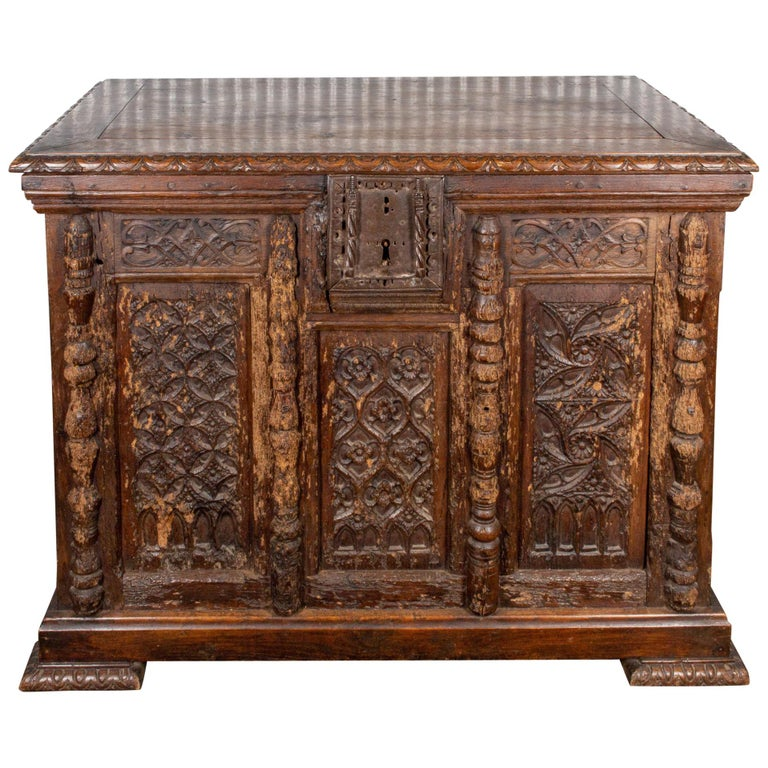 Early French Gothic Wood Trunk For Sale