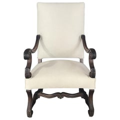 Early French Louis XV French Carved Armchair with New Upholstery