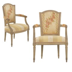 Early French Louis XVI Painted Antique Arm Chairs, a Pair