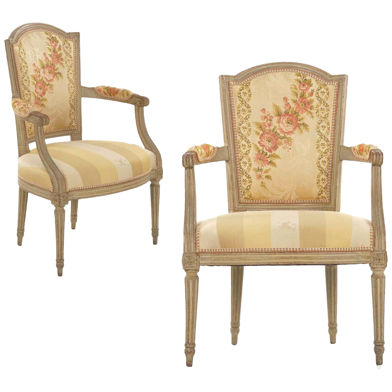 Early French Louis XVI Painted Antique Armchairs, a Pair