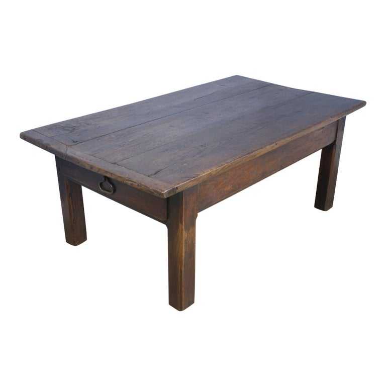 Early French Oak Coffee Table For Sale