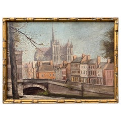 Early French Oil Painting Of Notre Dame Cathedral In Faux Bamboo Frame, Paris
