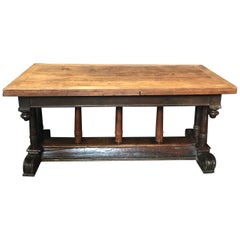 Early French Refectory Table with Leaves from Avignon