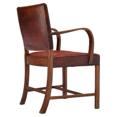 Early Fritz Hansen Armchair Model '1561' in Original Patinated Leather
