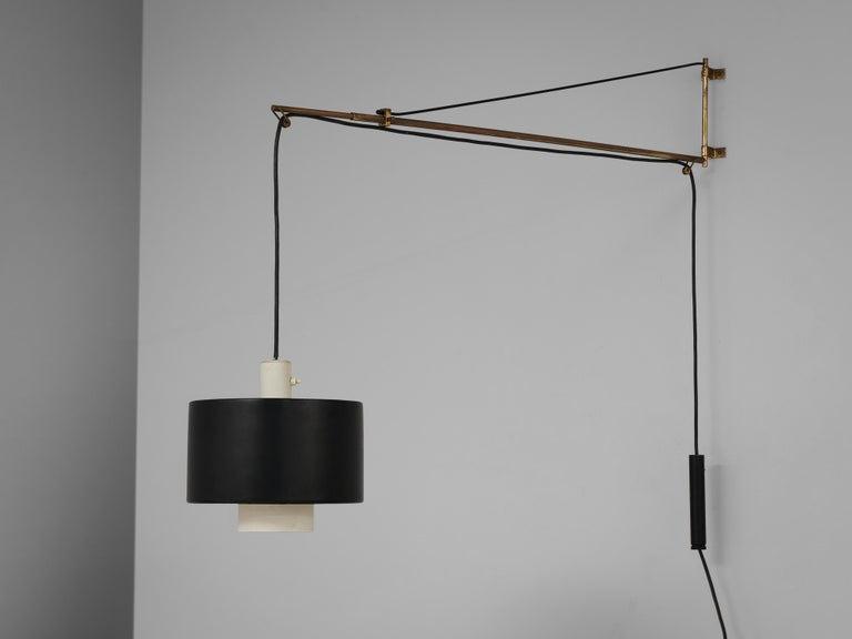 Gaetano Sciolari for Stilnovo, wall-mounted pendant lamp model '2061', metal, brass, Italy, 1956  Once again Gaetano Sciolari proves his great eye for proportion and detail. This early version of the model '2061' pendant lamp hangs on an