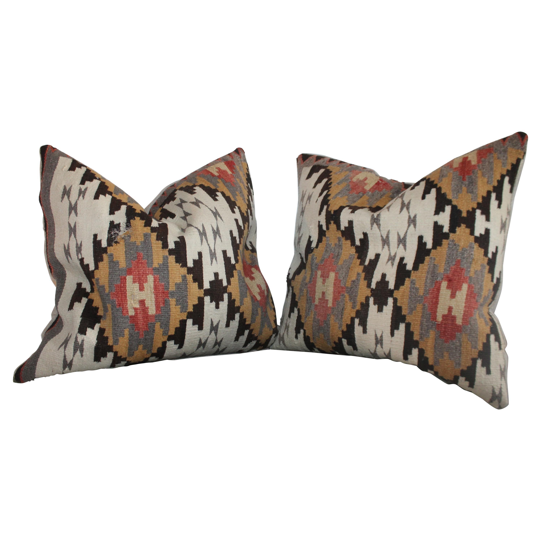 Early Geometric Navajo Weaving Pillows / Pair