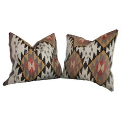 Early Geometric Navajo Weaving Pillows / Pair