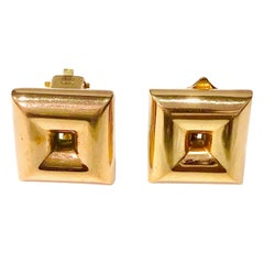 Early Georg Jensen 14K Yellow Gold Clip-On Earrings Designed by Hah, Very Rare
