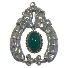 Early Georg Jensen 826 Silver Pendant with Chrysoprase No 14