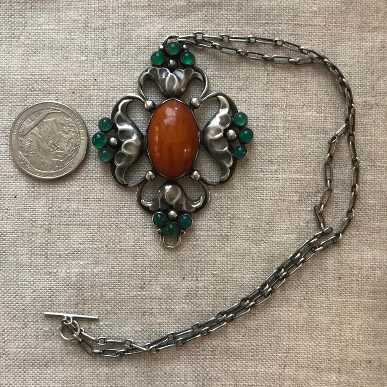 Art Nouveau Early Georg Jensen 830 Silver Large Pendant No. 40 with Amber and Chrysoprase For Sale