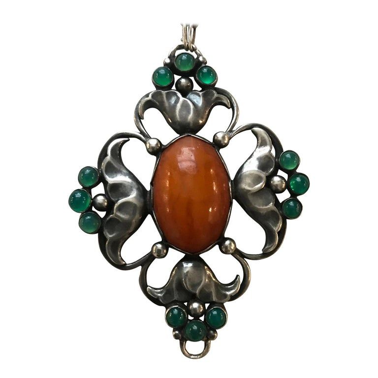 Early Georg Jensen 830 Silver Large Pendant No. 40 with Amber and Chrysoprase For Sale