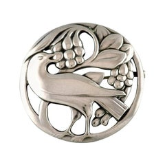 Early Georg Jensen Brooch in Sterling Silver, Bird Motif and Grapes