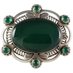 Early Georg Jensen circa 1915-1930 #157 Silver and Green Agate Brooch