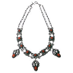 Early Georg Jensen Silver Coral Necklace, circa 1914