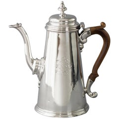 Early George II Silver Coffee Pot, London 1729 by Edward Vincent