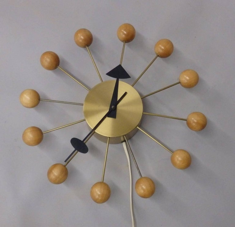 Mid-Century Modern Early George Nelson Associates Howard Miller Blonde Ball Clock For Sale