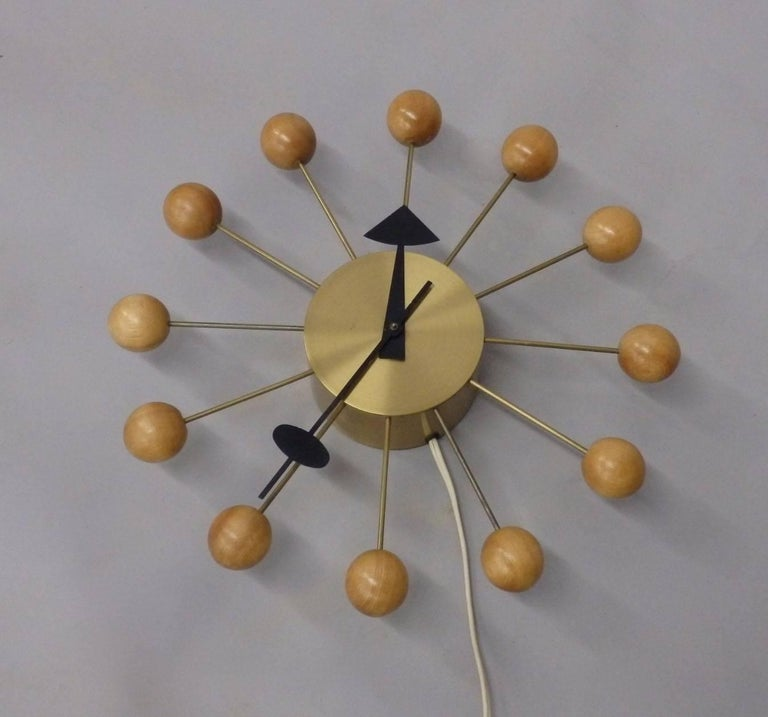 American Early George Nelson Associates Howard Miller Blonde Ball Clock For Sale