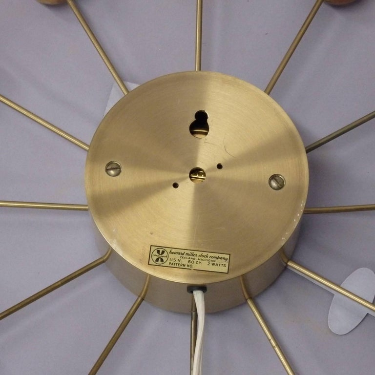 Early George Nelson Associates Howard Miller Blonde Ball Clock In Excellent Condition For Sale In Ferndale, MI