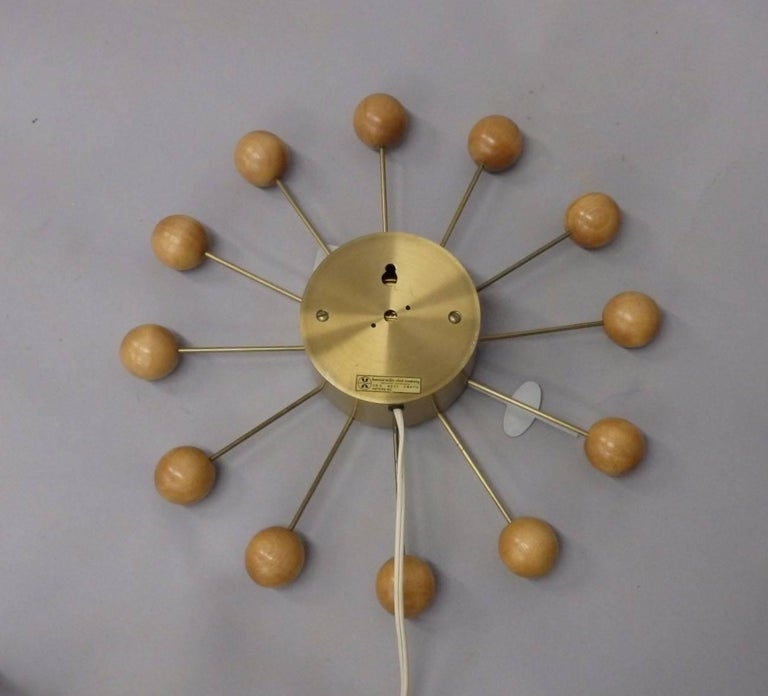 20th Century Early George Nelson Associates Howard Miller Blonde Ball Clock For Sale