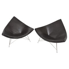 Early George Nelson by Herman Miller Green Leather Classic Coconut Lounge Chairs