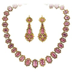 Early Georgian Pink Topaz Necklace and Earring Demi-Parure Set