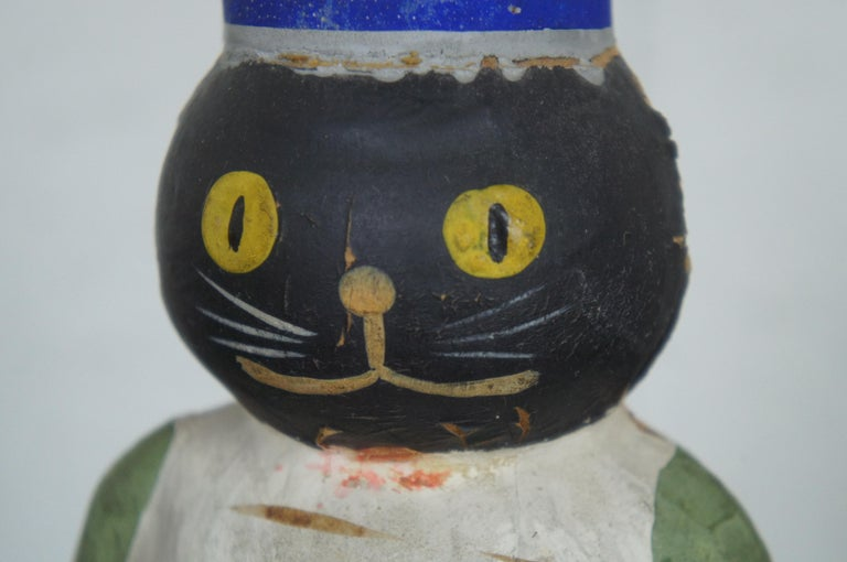 Early German Antique Composition Black Cat Candy Container Halloween Xmas For Sale 5