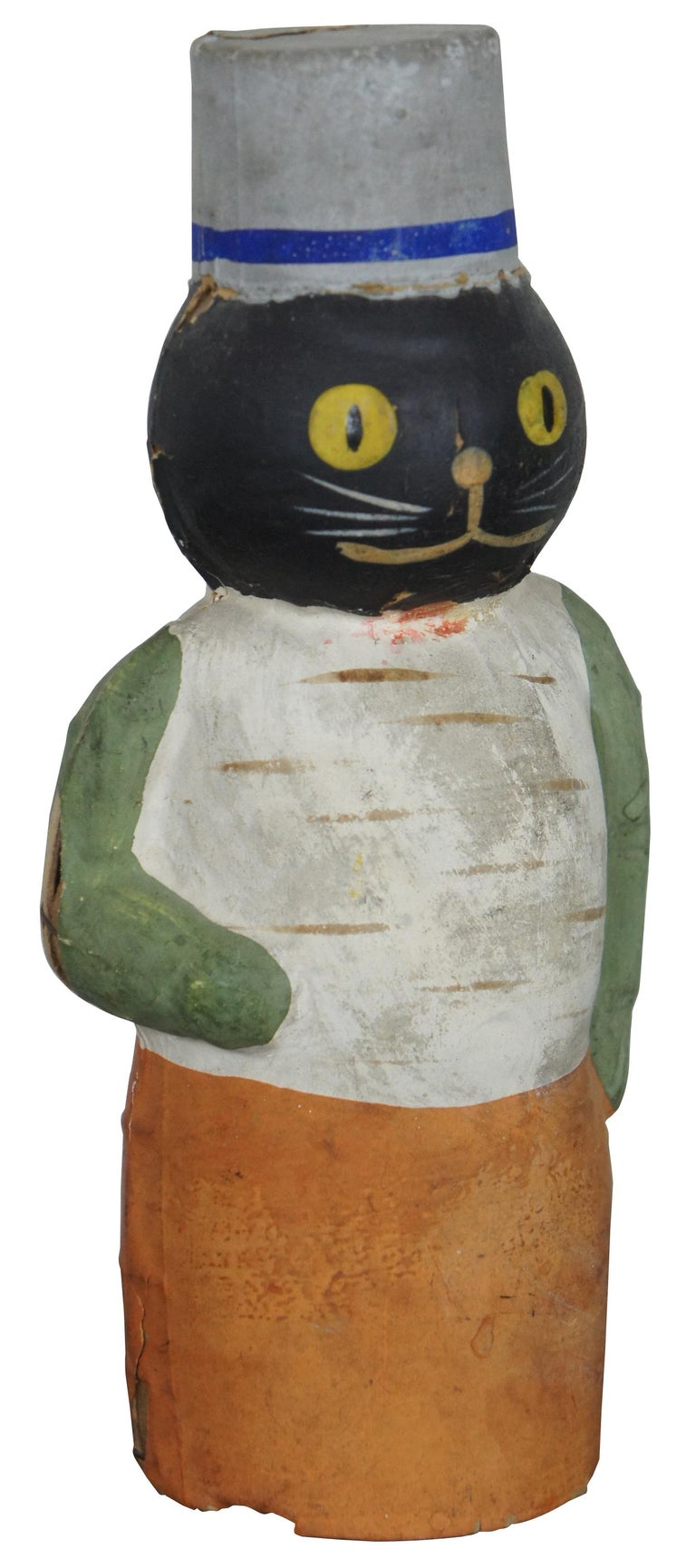 Folk Art Early German Antique Composition Black Cat Candy Container Halloween Xmas For Sale