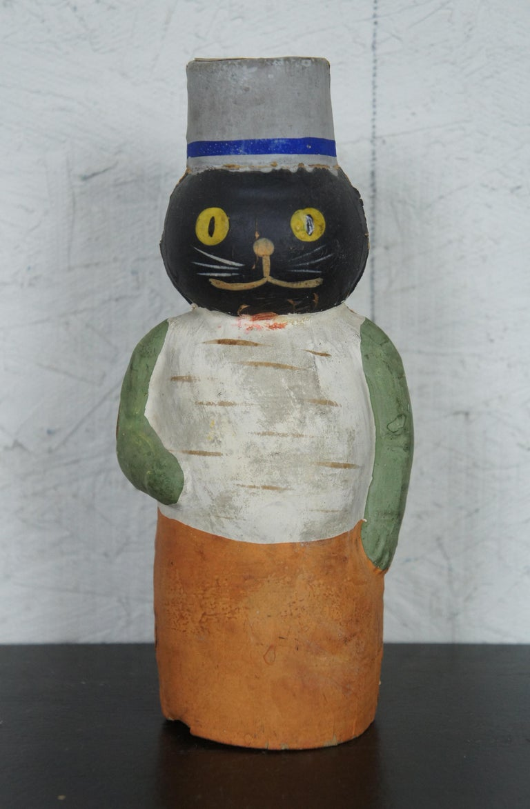 19th Century Early German Antique Composition Black Cat Candy Container Halloween Xmas For Sale
