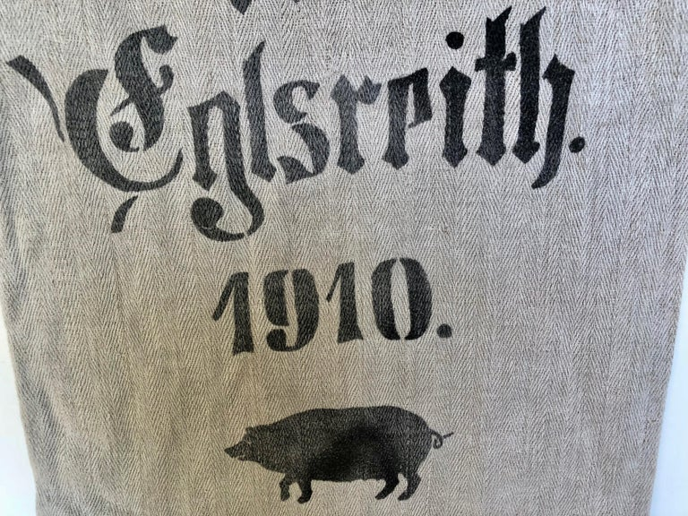 Early German Grainsack with Beautiful Original Calligraphy and Graphics, Pig In Distressed Condition For Sale In Glen Ellyn, IL
