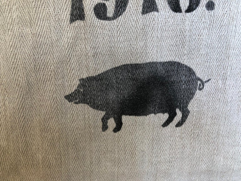 20th Century Early German Grainsack with Beautiful Original Calligraphy and Graphics, Pig For Sale