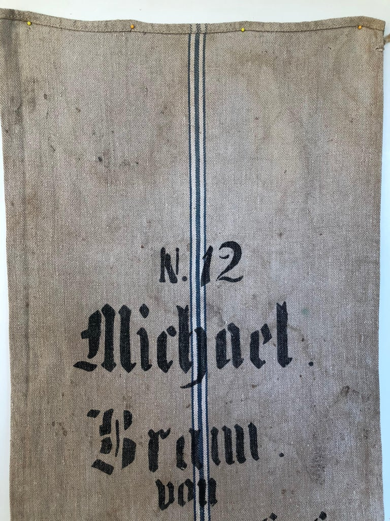 Early German Handwoven Grain Sack with Original Calligraphy and Graphics In Distressed Condition For Sale In Glen Ellyn, IL