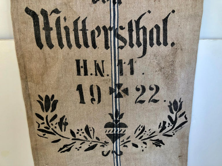 20th Century Early German Handwoven Grain Sack with Original Calligraphy and Graphics For Sale