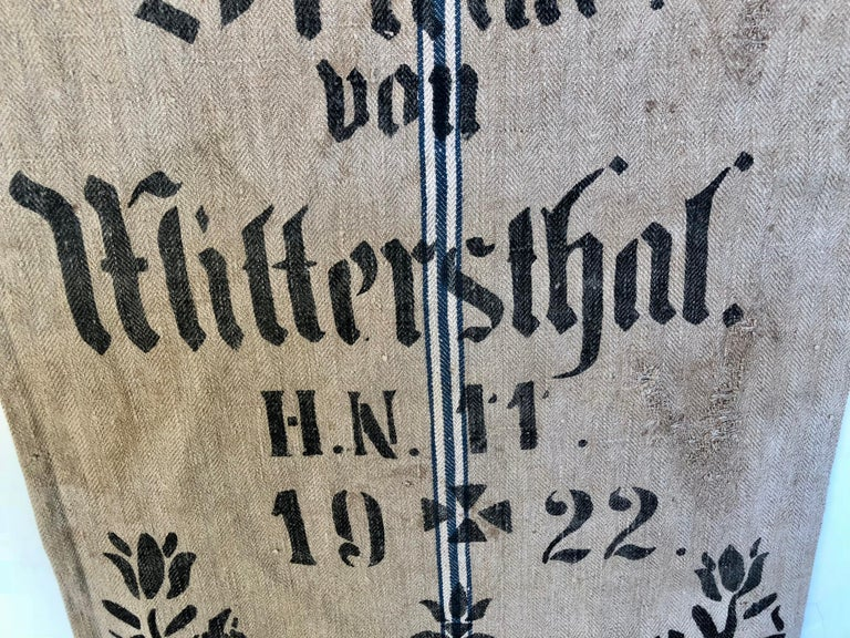 Cotton Early German Handwoven Grain Sack with Original Calligraphy and Graphics For Sale