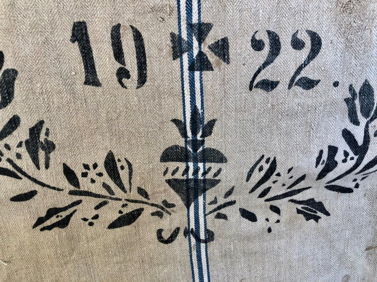 Early German Handwoven Grain Sack with Original Calligraphy and Graphics For Sale 1