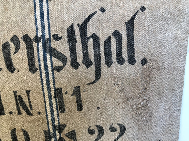 Early German Handwoven Grain Sack with Original Calligraphy and Graphics For Sale 2