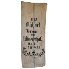 Early German Handwoven Grain Sack with Original Calligraphy and Graphics