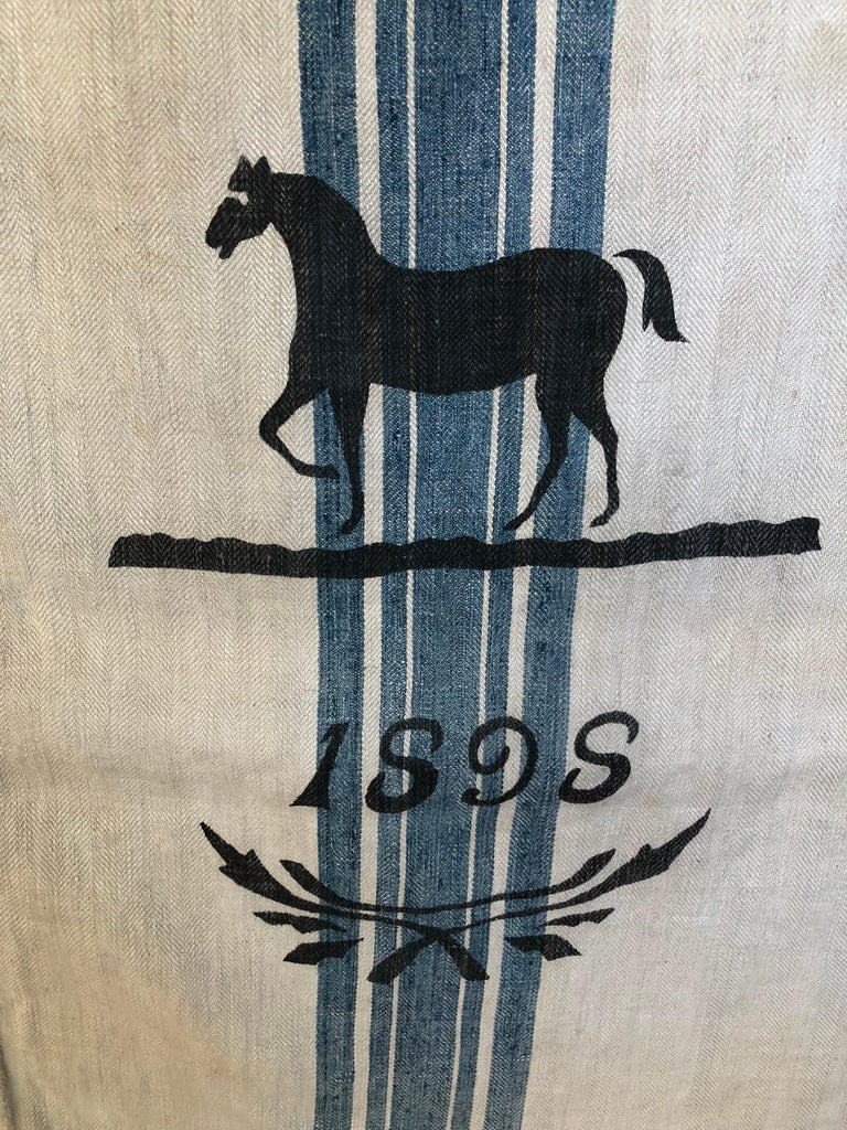 Early German Handwoven Grain Sack with Original Calligraphy and Graphics, Horse In Distressed Condition For Sale In Glen Ellyn, IL