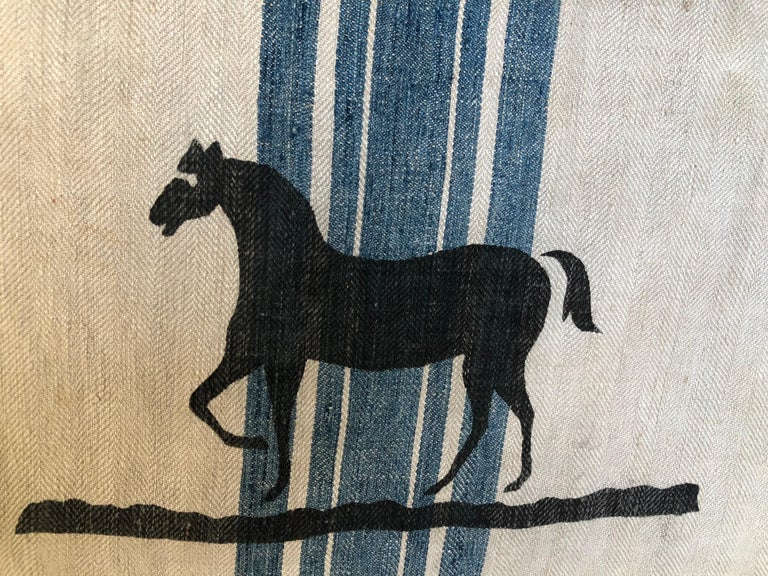Hemp Early German Handwoven Grain Sack with Original Calligraphy and Graphics, Horse For Sale