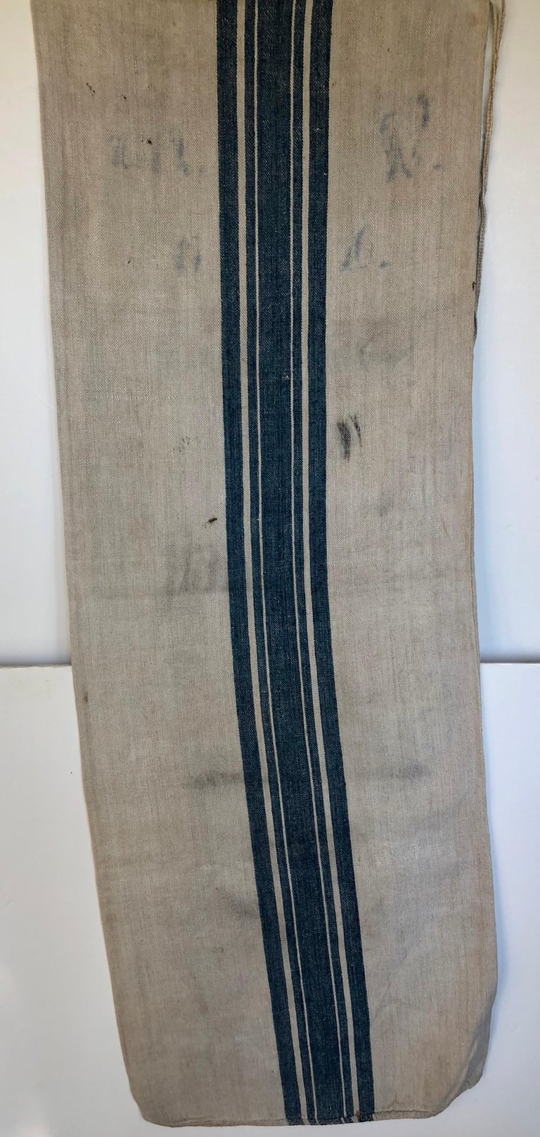 Early German Handwoven Grain Sack with Original Calligraphy and Graphics, Horse For Sale 1