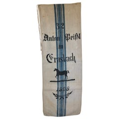 Early German Handwoven Grain Sack with Original Calligraphy and Graphics, Horse