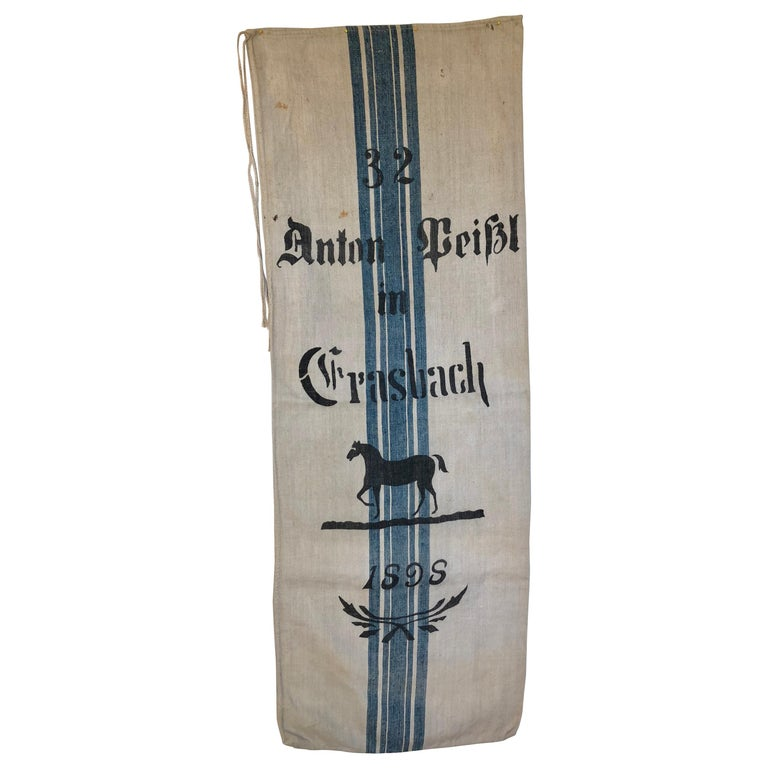 Early German Handwoven Grain Sack with Original Calligraphy and Graphics, Horse For Sale