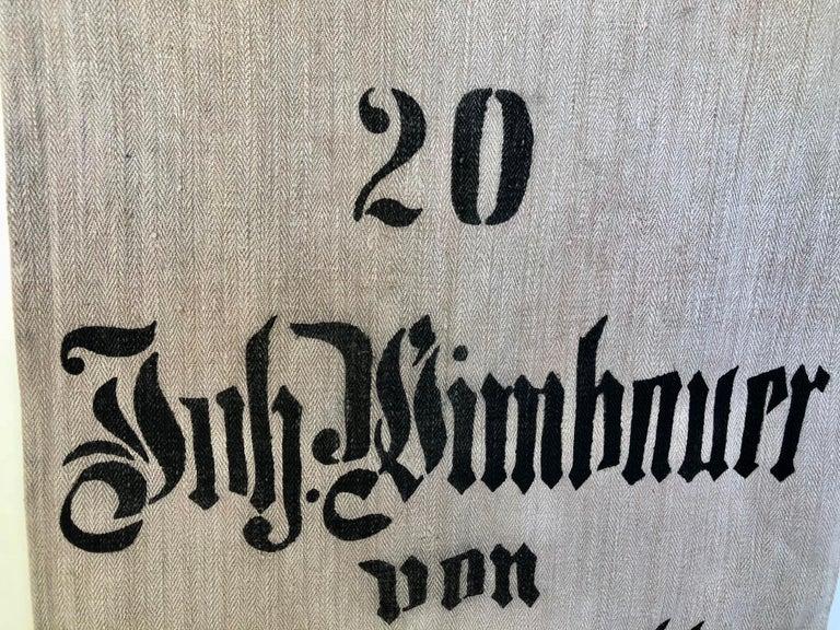 20th Century Early German Handwoven Hemp and Linen Grainsack, Original Graphics, Pig For Sale