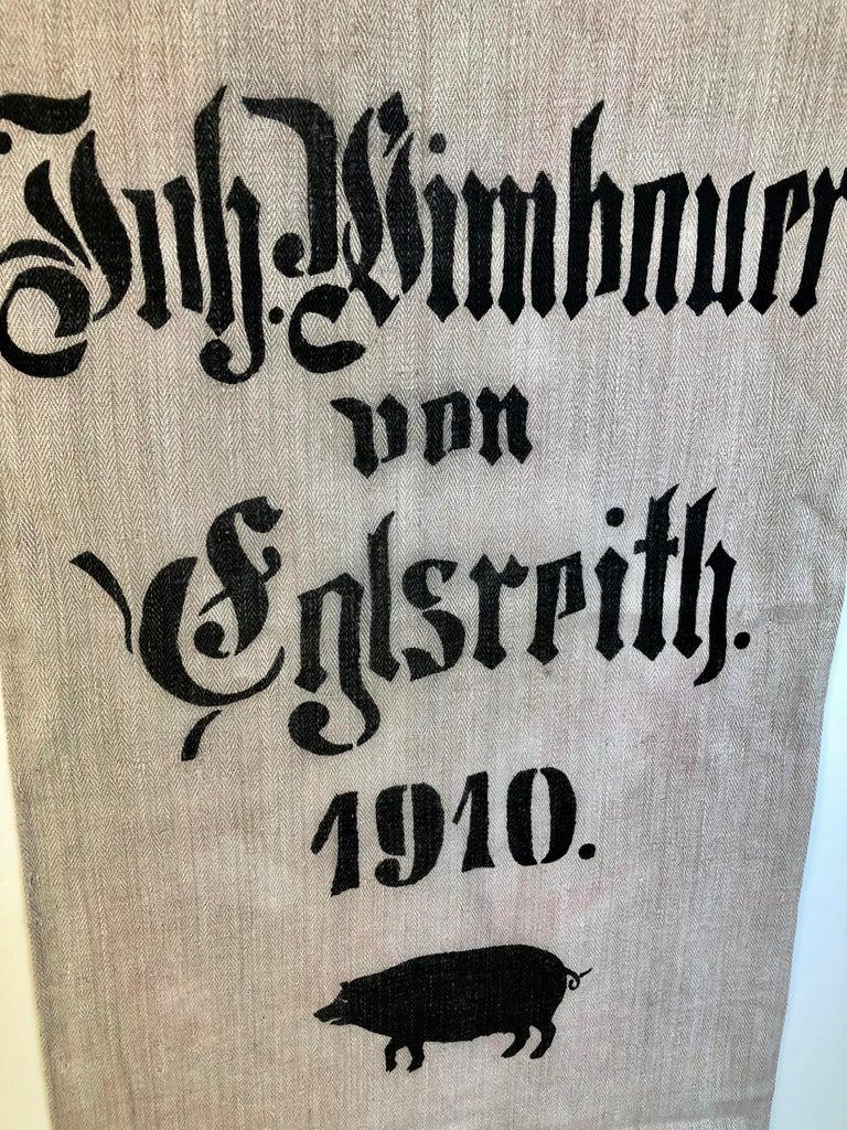 Early German Handwoven Hemp and Linen Grainsack, Original Graphics, Pig For Sale 2
