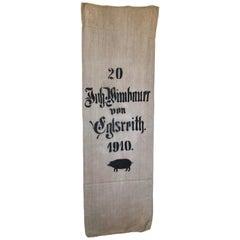 Early German Handwoven Hemp and Linen Grainsack, Original Graphics, Pig