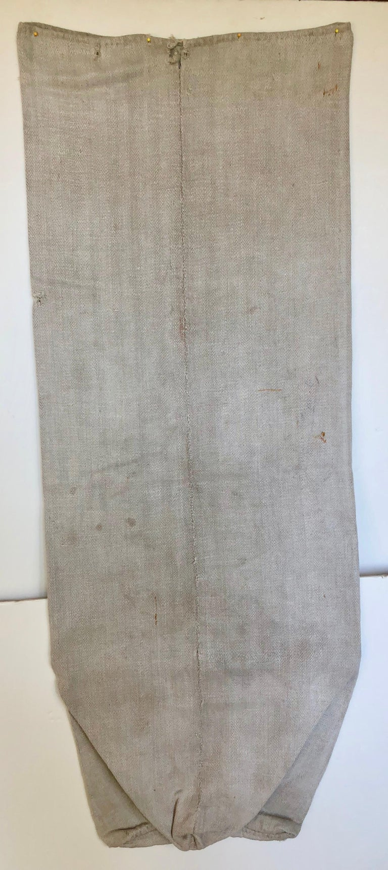 Early German Handwoven Hemp and Linen Grainsack, Rare Original Graphics For Sale 3