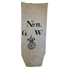 Early German Handwoven Hemp and Linen Grainsack, Rare Original Graphics