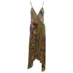 Early Gianni Versace   Late 1970's Dress Jungle Parrots  Print 100% Silk